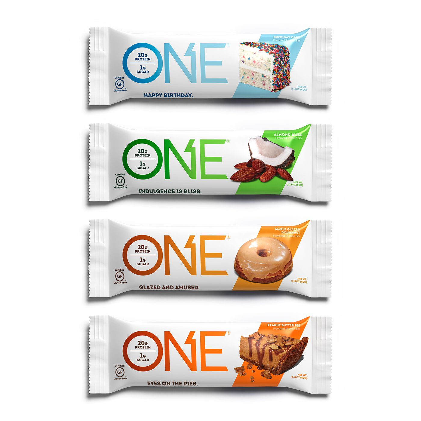 ONE Protein Bar Best Sellers Variety Pack 12 Gluten Free High Low Sugar Includes Birthday Cake Almond Bliss Maple Glazed Doughnut