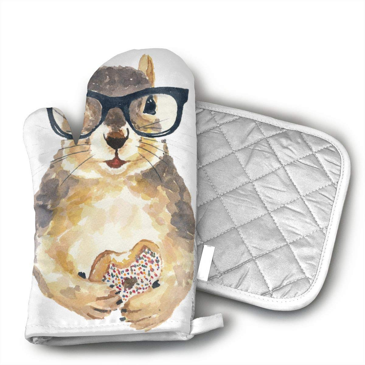 HGUIDHG Nerdy Squirrel with Glass and Dessert.png Oven Mitts+Insulated Square Mat,Heat Resistant Kitchen Gloves Soft Insulated Deep Pockets, Non-Slip Handles
