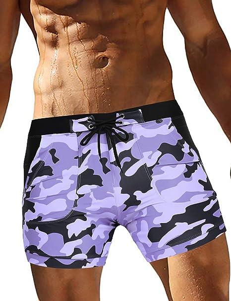 264892f7b5442 COOFANDY Men's Swim Shorts Green Camo Pocket Briefs Quick Dry Boxer Briefs