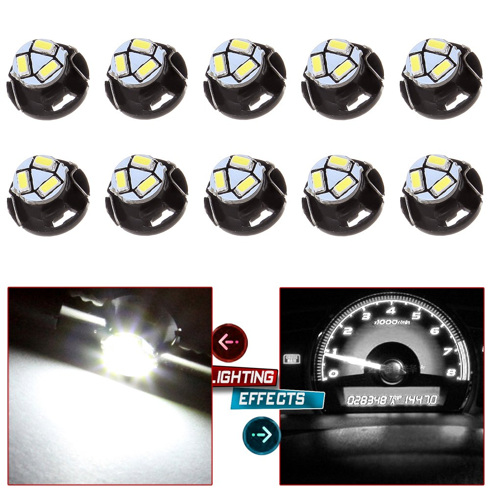 cciyu 10 Pack White T5 Neo Wedge 3 SMD Led Bulbs A//C Climate Control LED Ligh Dash Base Light Lamps 12V T5//T4.7-12mm Base diameter Replacement fit for 2012 Chrysler etc.