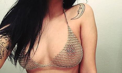3d62d151067e6 Image Unavailable. Image not available for. Color: chain mail bikini silver  link metal lingerie bra bikini goth medieval festivalZZ