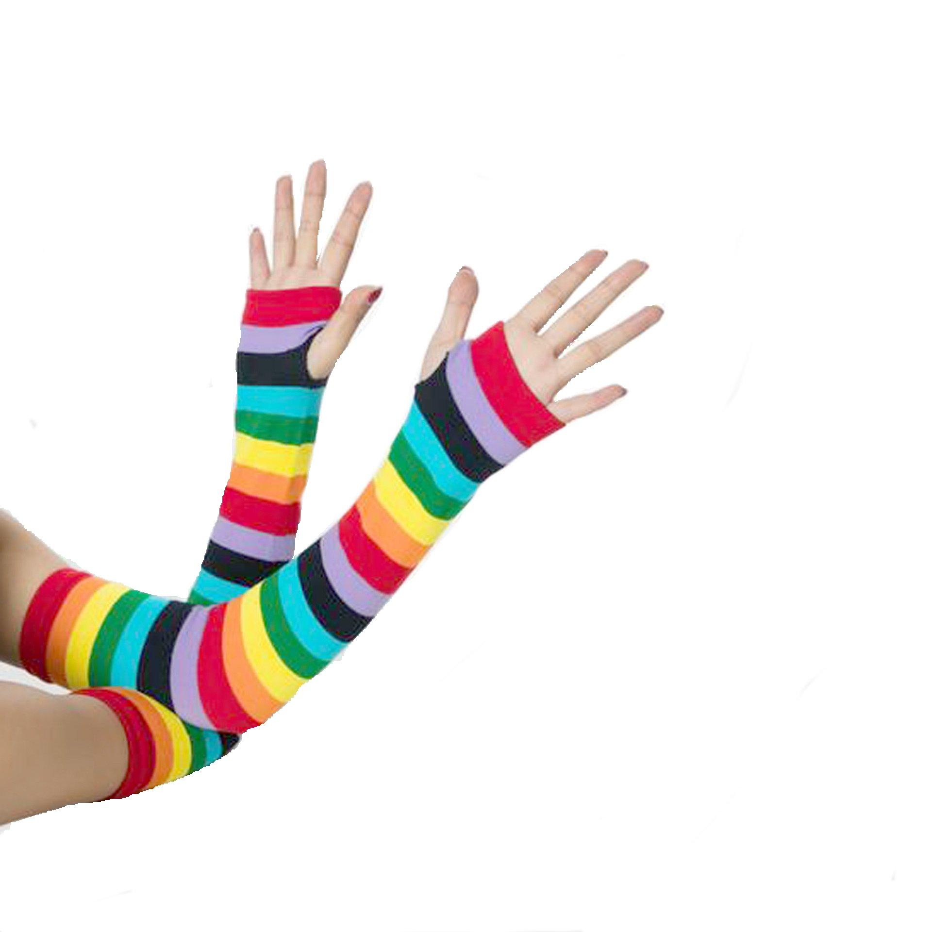 1e2daf9c9f7 Rainbow Stripe Over Knee Thigh High Socks Arm Warmer Fingerless Golves for  Women