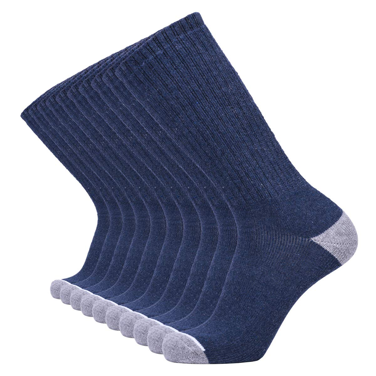 Enerwear 10P Pack Men's Cotton Moisture Wicking Extra Heavy Cushion Crew Socks (10-13/shoe size 6-12, Dark Jean Blue) by Enerwear