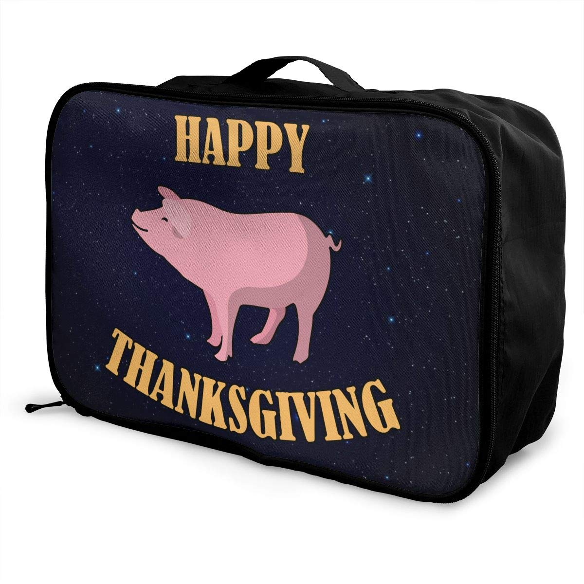 Happy Thanksgiving Pig Luggage Bag Capacity Portable Large Travel Duffel Bag Travel Makeup Bag
