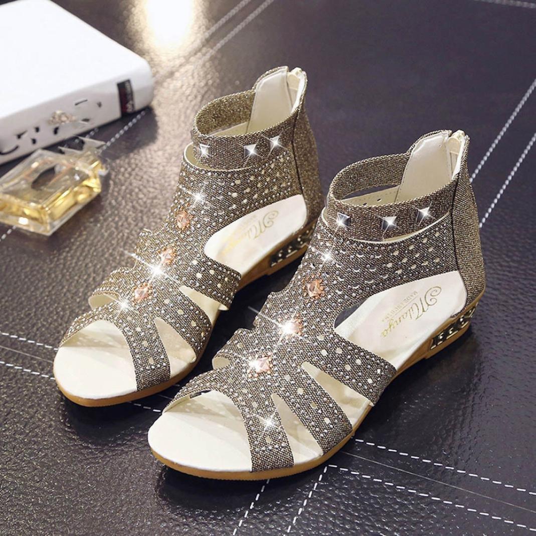 RAISINGTOP Spring Summer Ladies Women Wedge Sandals Zipper Fashion Hollow Roma Shoes Flip Flops Zip up Comfortable