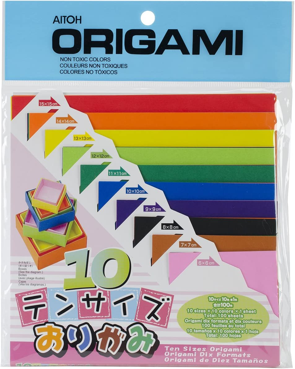 100-Pack Aitoh Origami Paper Ten Assorted Size