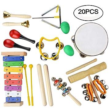 Juego de instrumentos musicales, juguetes de percusión de madera, educación por el ritmo y la música, regalo ideal para niños, 20 piezas: Amazon.es: ...
