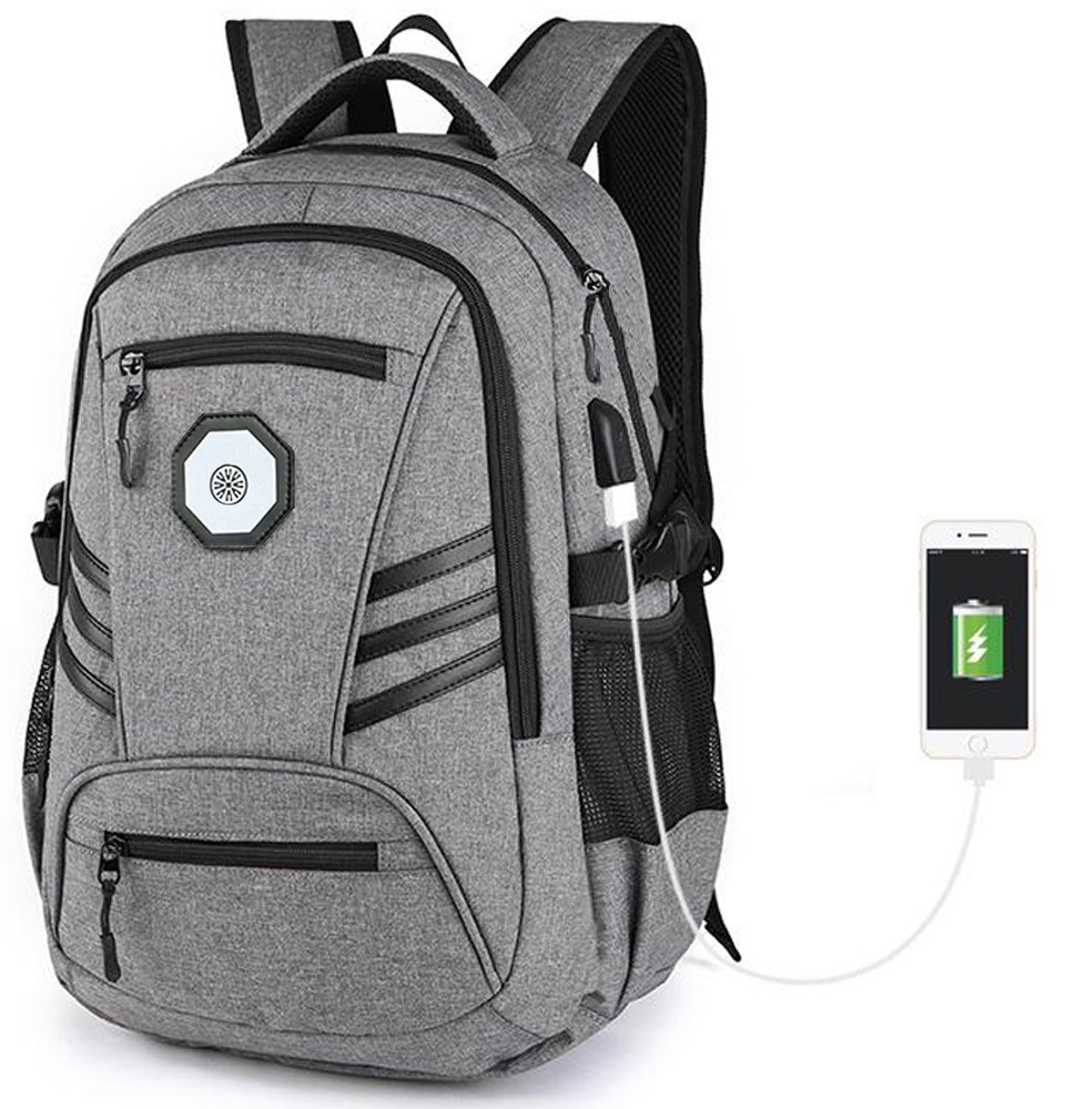 Business Water Resistant Polyester Laptop Backpack, KOLAKO College Computer Backpacks, Casual Hiking Travel Daypack with USB Charging Port Fits Under 15.6 inch Laptop & Tablets(gray)