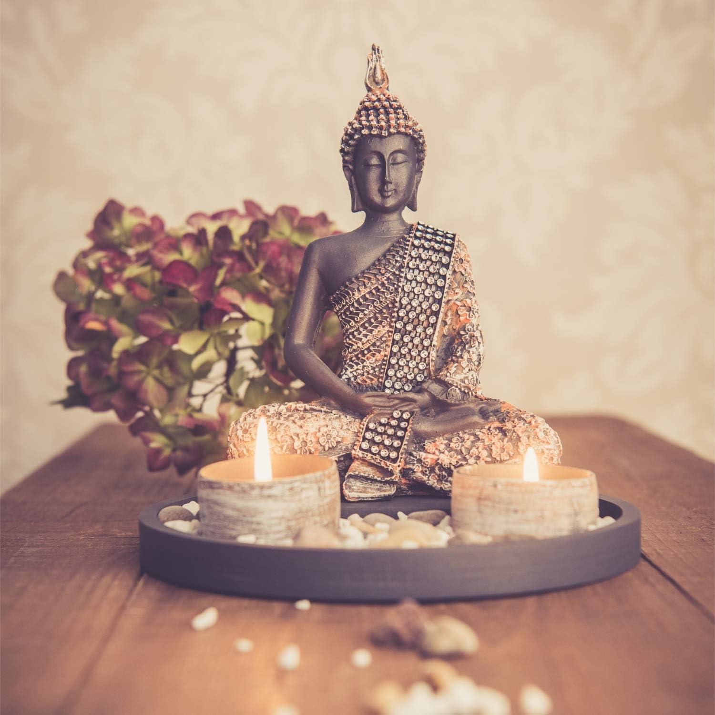 dszapaci Buddha Sitzend mit Teelicht 199cm Deko-Statue für Wohnzimmer oder  Bad Zen-Garten Deko-Figur Teelichthalter orientalisch (Nr. 19)