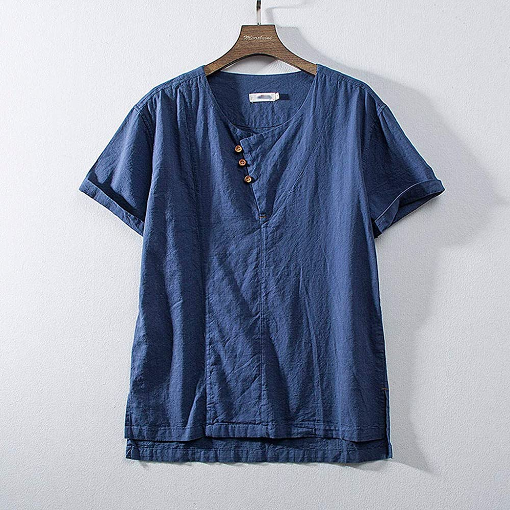 HCFKJ camisa de lino y algodón para hombre, casual, delgada, lisa ...