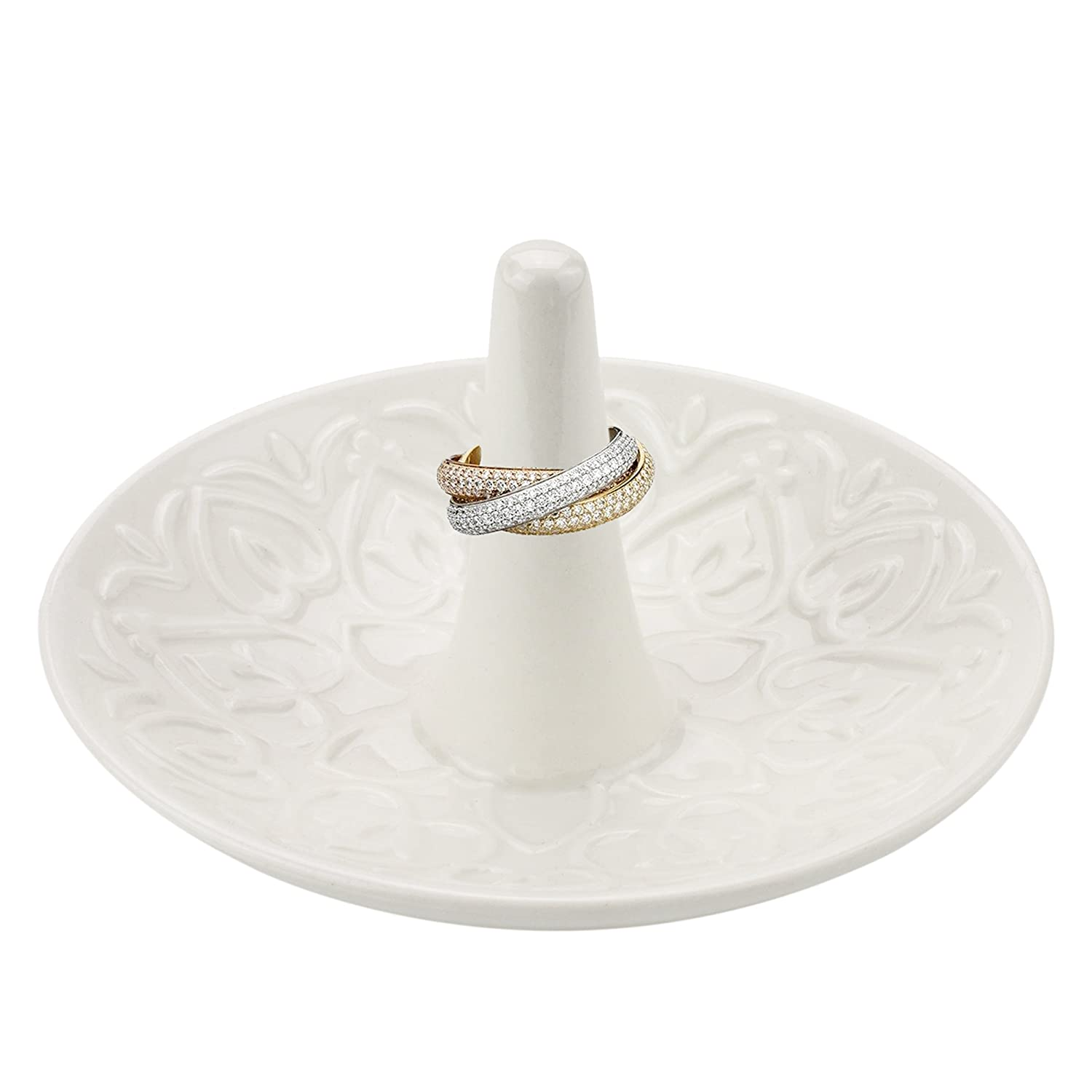 MyGift Decorative Raised Heart Design White Ceramic Ring Dish Dresser Top Jewelry Holder Trinket Tray
