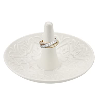 MyGift Decorative Raised Heart Design White Ceramic Ring Dish/Dresser Top Jewelry Holder/Trinket Tray