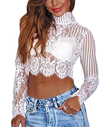 624a9e5d5e2639 Amazon.com  gagaopt Women Turtleneck Lace Crop Top Long Sleeve Sexy Sheer  Blouse Tops  Clothing