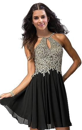 09135babbf Lily Wedding Junior Halter Gold Applique Prom Dresses 2019 Short Sleeveless Chiffon  Homecoming Party Dress Black