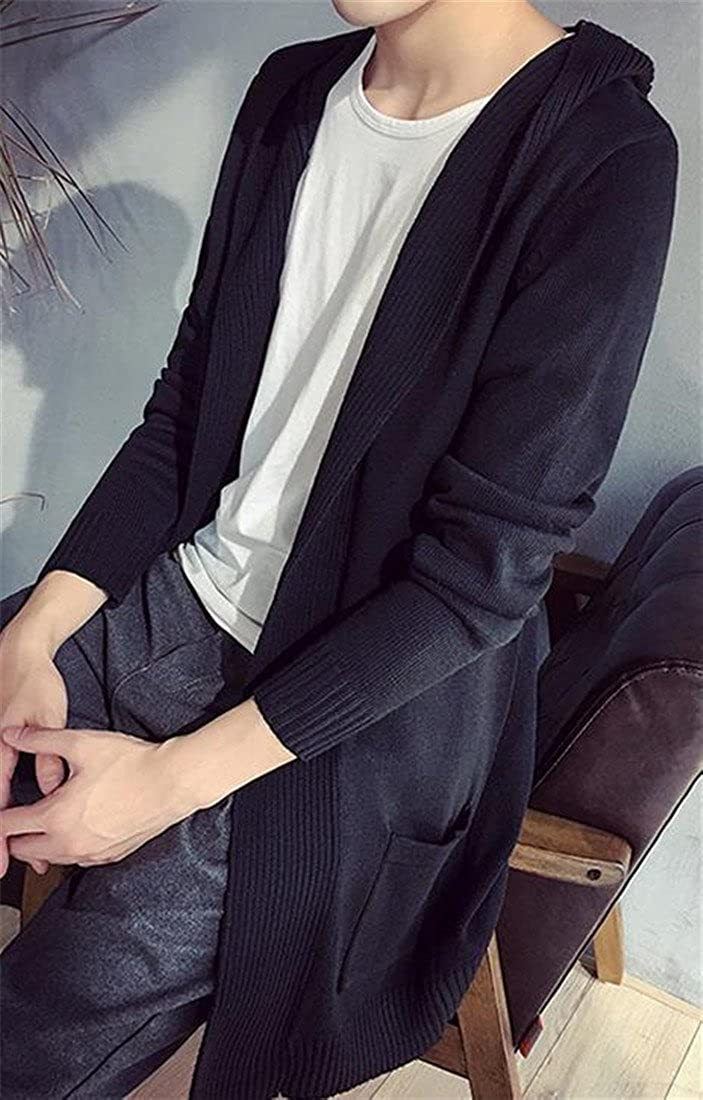 XTX Mens Fashion Slim Fit Open Front Cardigan Hooded Sweater