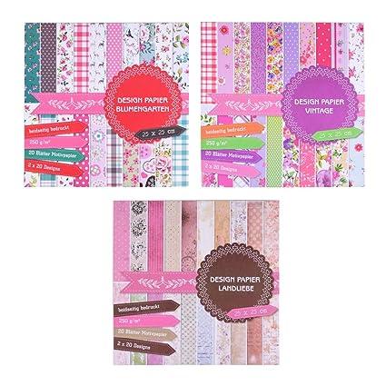 3 bloques de imágenes de 20 hojas cada uno, impresas por ambos lados, papel de diseño, papel para manualidades, 60 hojas, 60 diseños