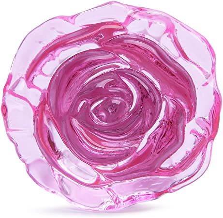 LOVELY PINK CABBAGE ROSE VINTAGE OLD DECORATED WHITE DRAWER PULL CUPBOARD KNOB