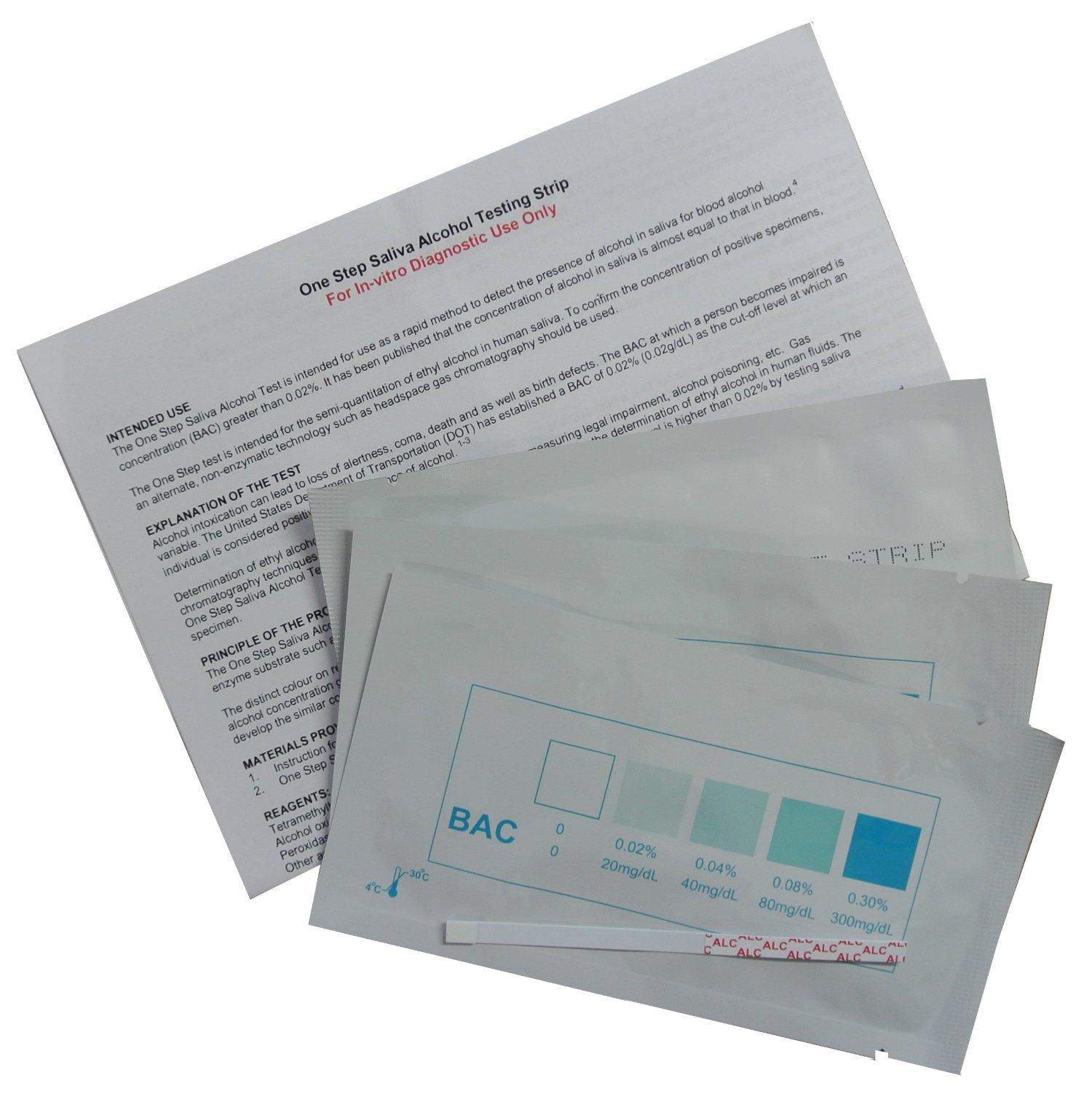 15 x Alcohol Saliva Test Strips - One Step® (BAC) Blood Alcohol Instant Test Kits