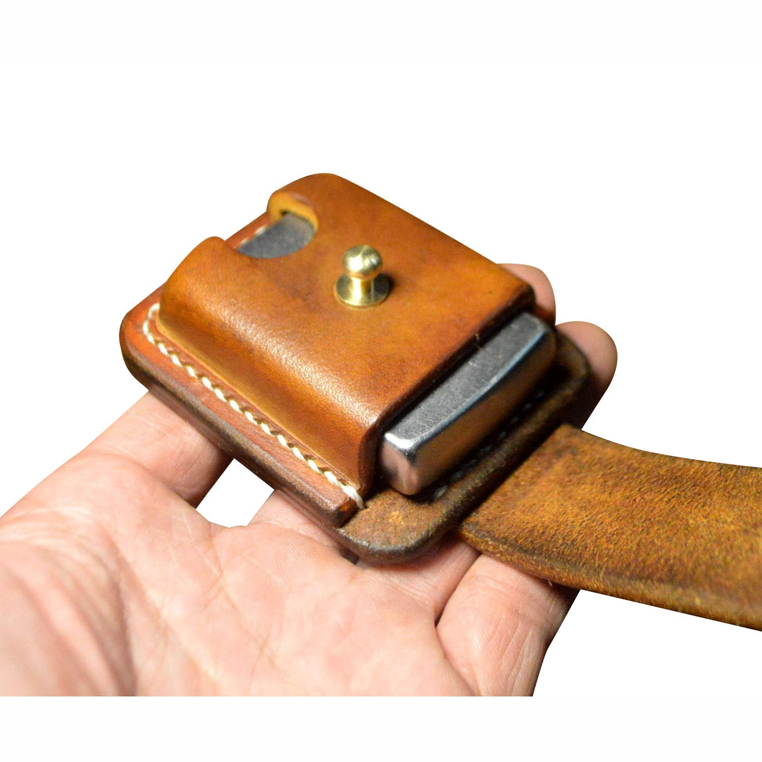 Hand Made Leather Lighter Protective Sleeve case Genuine Full Grain Cowhide Handcrafted Pouches Holder (Brown) by BAVER (Image #5)