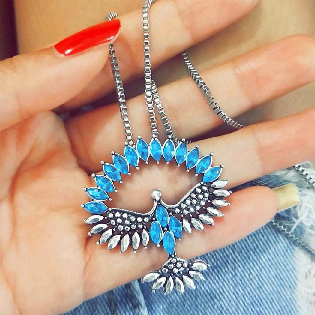 Belloc Women Fashion Wing Eagle Crystal Pendant Necklace Silver Long Chain Elegant Jewelry for Women