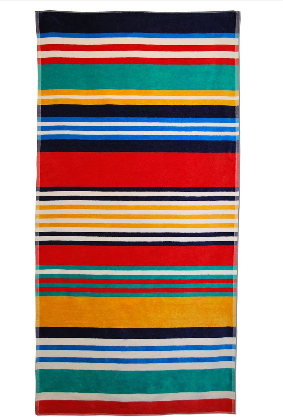 "SUPERIOR 100% Cotton Luxury Beach Towels - Oversized Beach Towel, 450 GSM Swim Towel, Multicolor Stripes (34"" x 64"")"