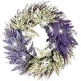Lighted Bicolor Lavender Twig Wreath