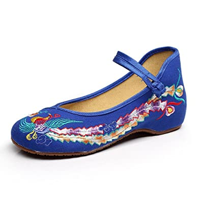 d9d85f4027b5b Eagsouni Women's Colorful Phoenix Old Beijing Embroidered Shoes Low Wedge  Mary Jane Shoes