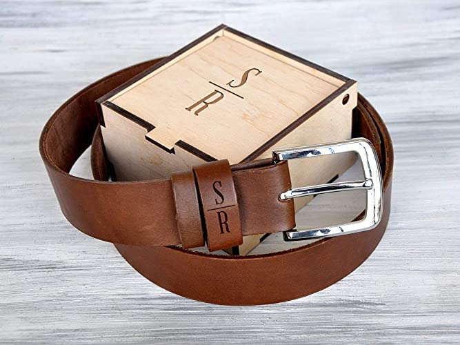 Amazon com: Mens Personalized Leather Belt Handmade