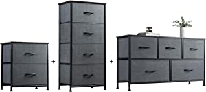 WLIVE 2 Drawer Dresser, 4 Drawer Dresser and 5 Drawer Dresser Set, Storage Tower, Organizer Unit for Bedroom, Hallway, Entryway, Closets