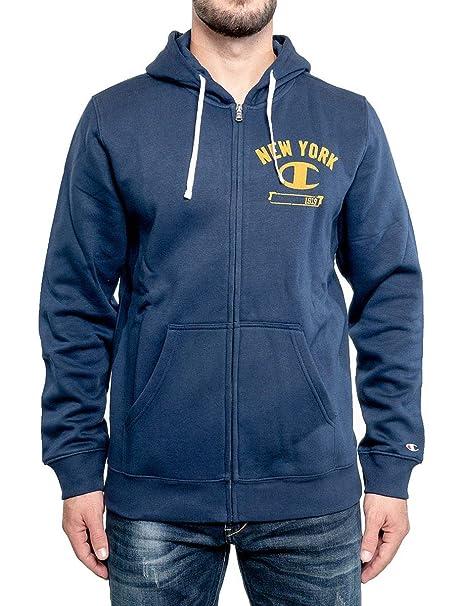 felpa full zip con cappuccio logo champion