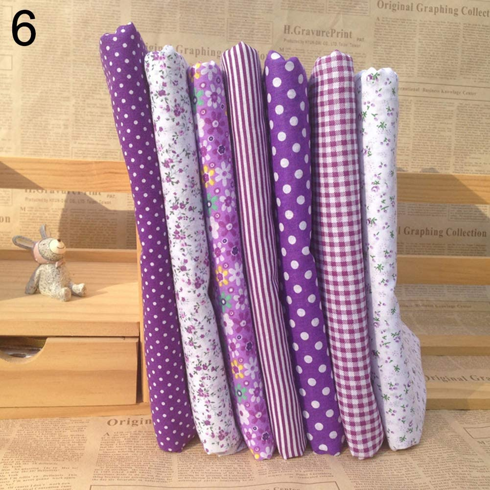 liyhh 7pcs Pink Printing Floral Dot Stripe Cotton Quilting Fabric Quarter Bundle Patchwork Quilting Fabric Sets Sewing Fabric Patchwork Flower Dots DIY Quilting Handmade Craft