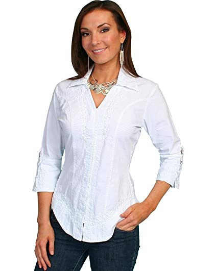 711028cd Scully Women's 3/4 Length Sleeve Peruvian Cotton Top at Amazon Women's  Clothing store: