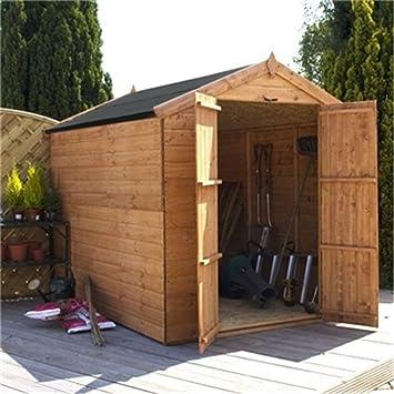 8 ft x 6 ft lengua sin ventanas y GROOVE Apex cobertizo de madera con puertas