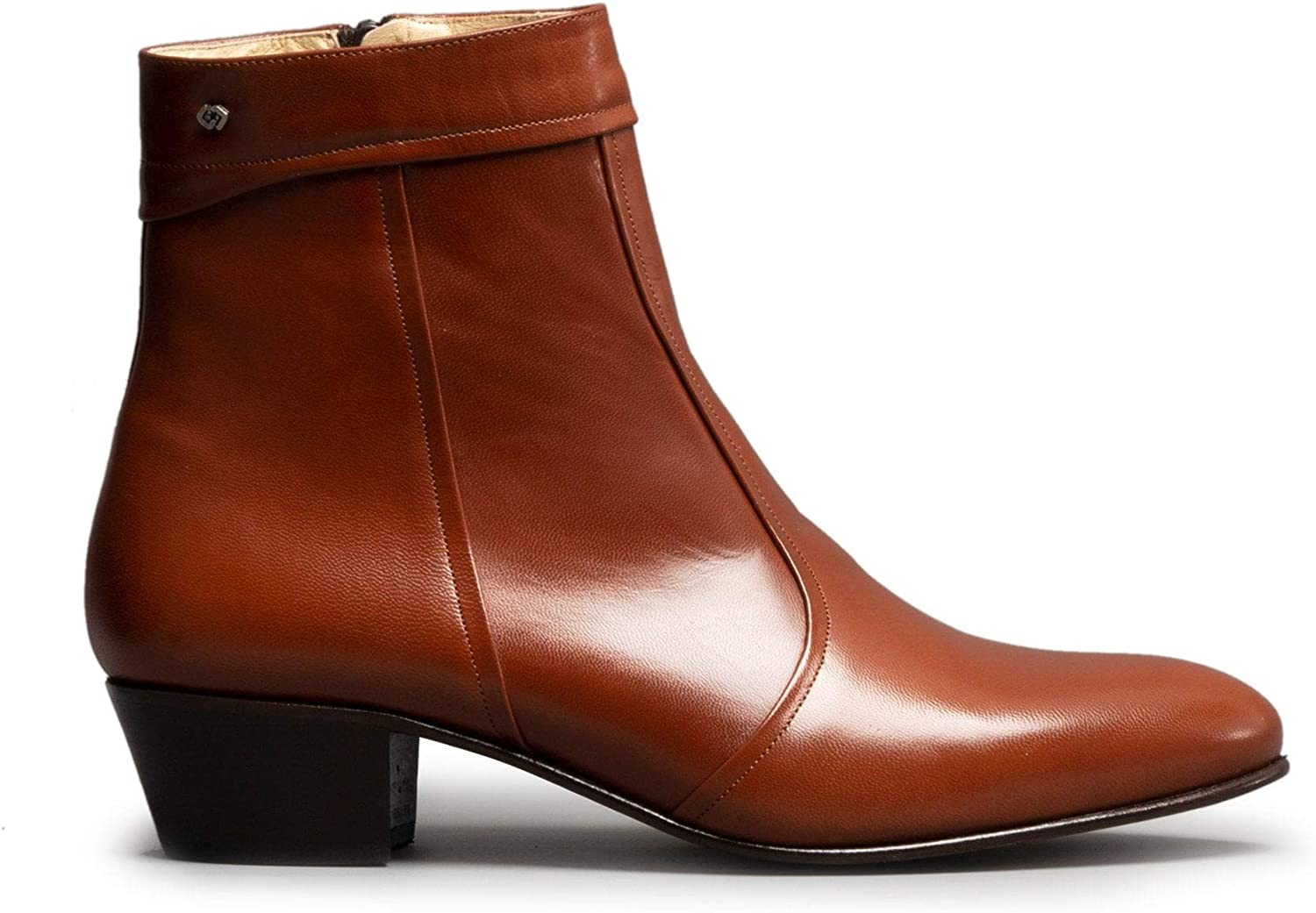 Club Cubano EMMANUEL Mens Smooth Leather Cuban Heel Zip Up Ankle Boots Tan