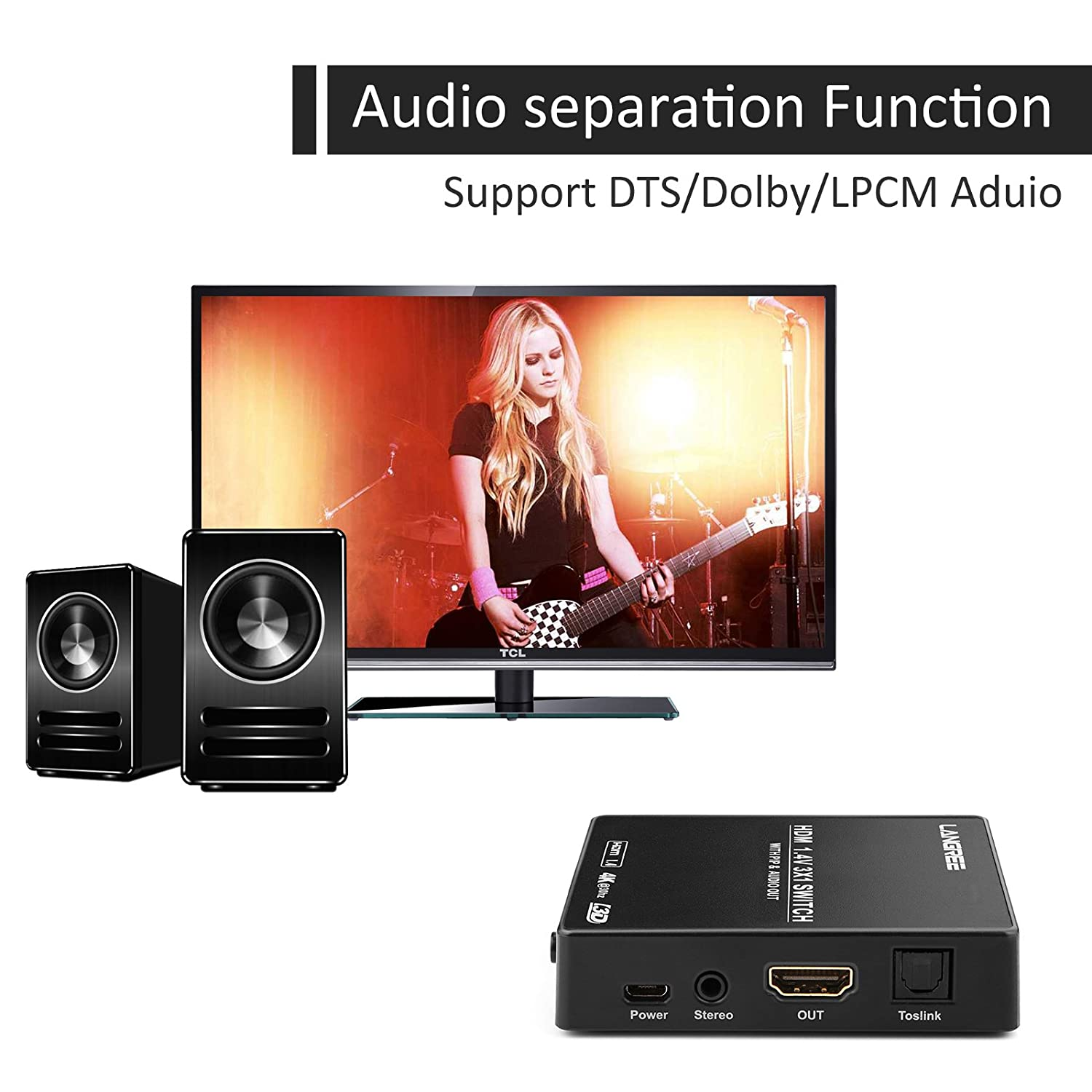LANGREE HDMI Switch 3 x 1 Support 4K 3D 1080P, with PIP and