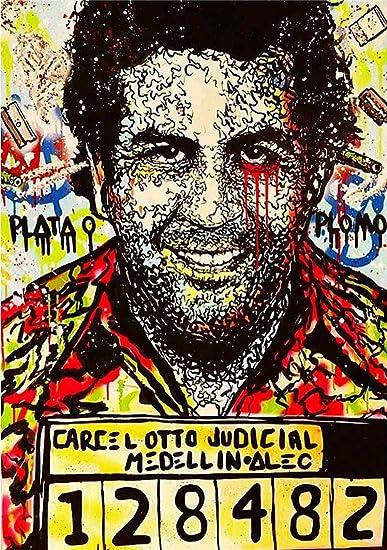 ALEC Monopoly Pablo Escobar - Lienzo impreso sobre lienzo enmarcado (34 x 24 pulgadas): Amazon.es: Hogar
