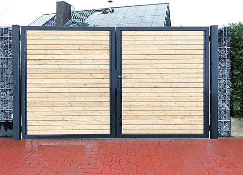 Puerta de doble hoja de 350 cm, puerta de jardín antracita con relleno de madera, incluye Juego de candados, Gris: Amazon.es: Bricolaje y herramientas