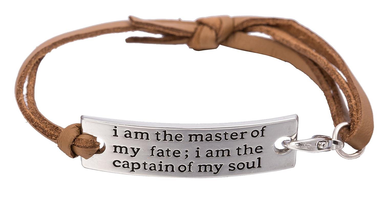 Lemegeton I am The Master of my fate.. connettore in metallo Messaggio di ispirazione motivazionale del braccialetto gioielli per uomo/donna (albicocca) Lega colore: brown BiChuang