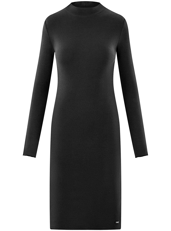 oodji Ultra Mujer Vestido de Punto con Cuello Mao, Negro, ES 46 / XXL: Amazon.es: Ropa y accesorios