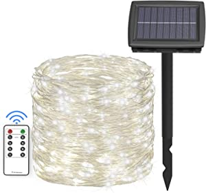 Asmader 66 ft Solar String Lights,200 LEDs Outdoor Fairy Lights Powered by Solar and Battery, 8 Modes RF Remote Waterproof Decor Lights with 3.6V/1500mA Solar Rope Lights for Patio Garden Party White