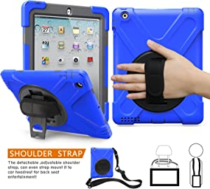 BRAECNstock Apple iPad 2 3 4 Case Heavy Duty Kickstand Shockproof Protective/Hand Strap + Shoulder Strap Case for iPad 2nd/ 3rd/ 4th Generation Tablet Case (Blue)