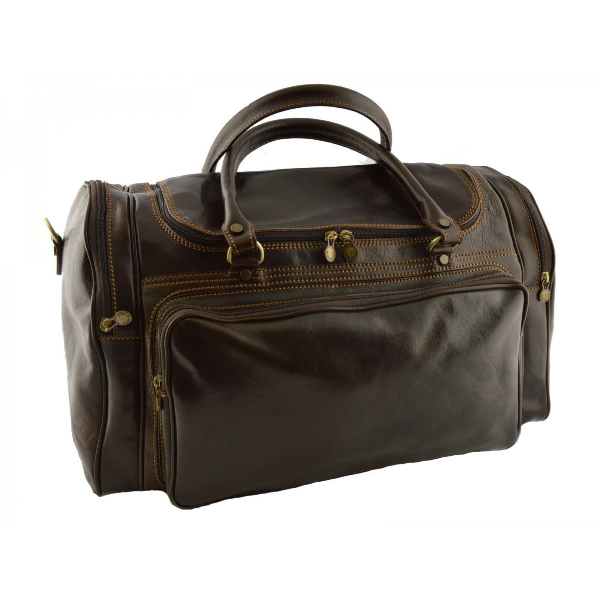 Made In Italy Leather Travel Bag Color Dark Brown - Travel Bag B014T6HWOW