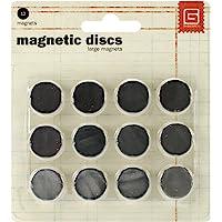 BasicGrey Broches magnéticos de 5/8 Pulgadas por 1/32 Pulgadas, Color Gris básico, tamaño Grande.