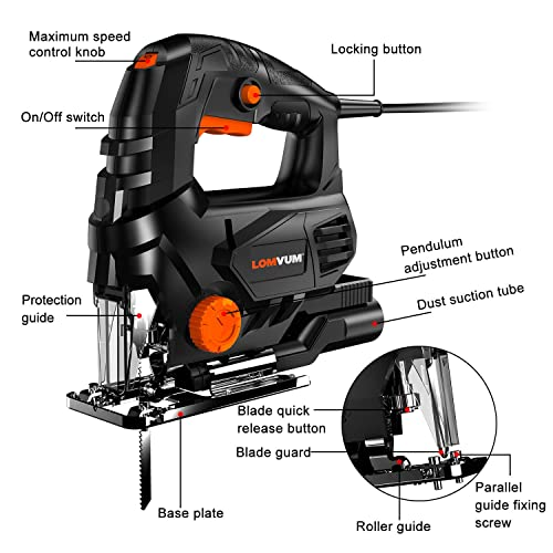 Lomvum Jig Saw, 7.3A Curve Saw Corded Variable Speed for Straight Curve Bevel Circular cutting,3300 SPM Pure Copper Motor jigsaw'saw for woodworking Included Scale Ruler T Blades Hex Key Dust Cover
