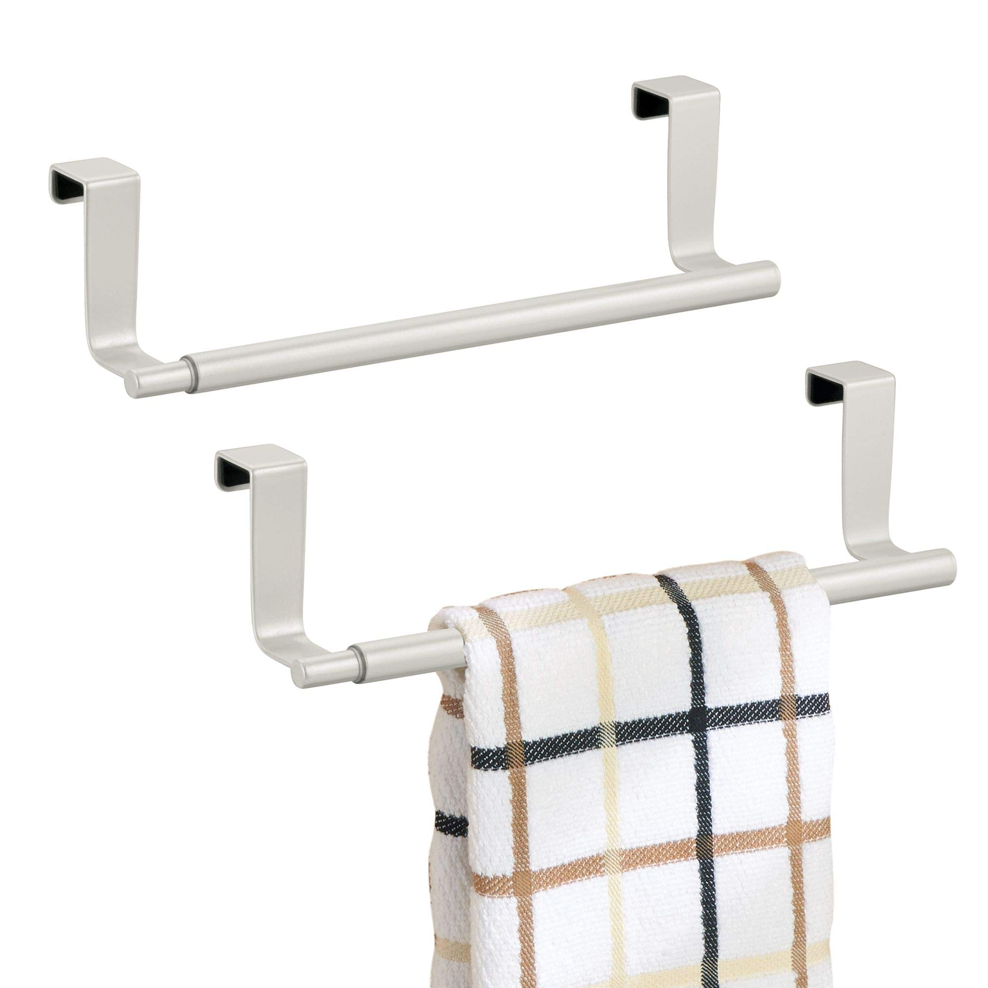 mDesign Adjustable, Expandable Kitchen Over Cabinet Towel Bar Rack - Hang on Inside or Outside of Doors, Storage for Hand, Dish, Tea Towels - 9.25'' to 17'' Wide, 2 Pack, Pearl White