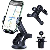 Phone Holder for Car, SHANSHUI Dashboard Windshield Suction Cup with 2 Air Vent Clip Car Phone Mount, Universal Ultra-Stable