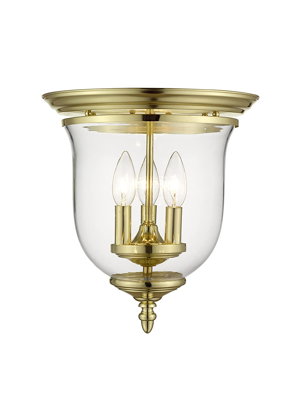 Livex Lighting 5021-02 Legacy 3-Light Ceiling Mount, Polished Brass