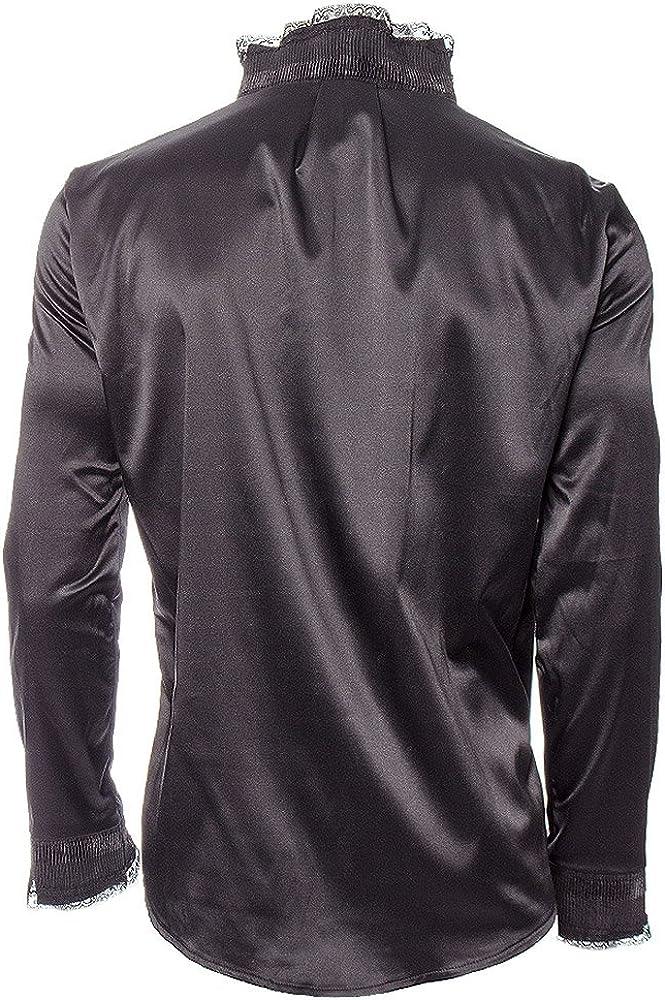 Camisa negra cuello con cadenas steampunk gótico negro Large: Amazon.es: Ropa y accesorios