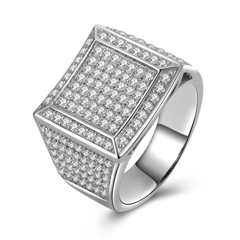 AmDxD Jewelry Silver Plated Men Promise Customizable Rings CZ Square Size 8,Engraving