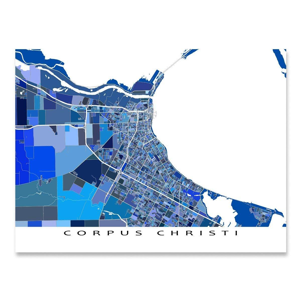 Corpus Christi Map Of Texas.Amazon Com Corpus Christi Map Print Texas Usa City Street Art